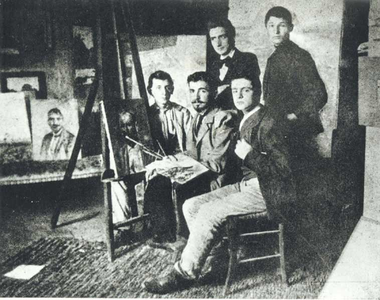 5 artist Modigliani at the studio of Gino Romitti in 1902
