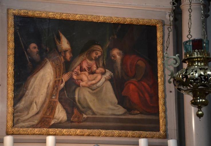 фото картины Тициана в церкви Santa Maria Nascente Италия