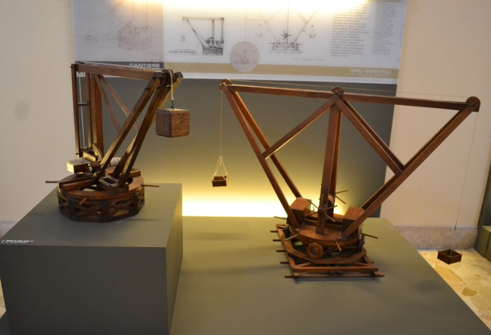 "фото модели Прототип подъемного крана в Национальном музее науки и технологий Леонардо да Винчи""Милан"