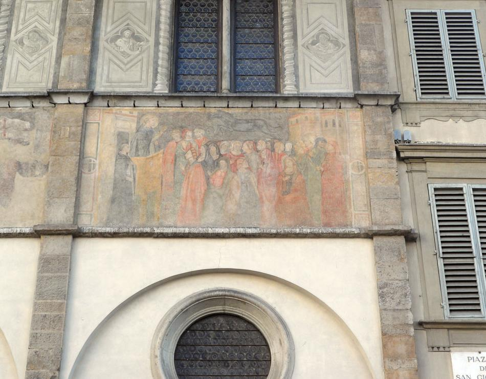 фото фрески на фасаде здания Loggia del Bigallo на площади San Giovanni, изображающая момент изгнания Дьявола в образе коня