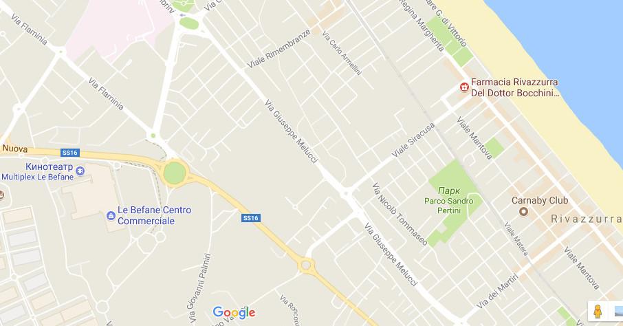 карта расположения центра Le befane в Римини